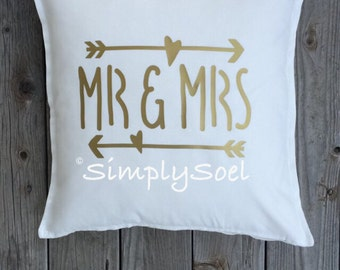Mr and Mrs 20x20 pillow cover