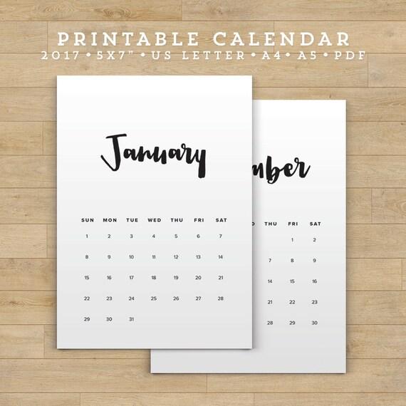 Hnliche artikel wie sale printable calendar 2017 minimal for Minimalist werden