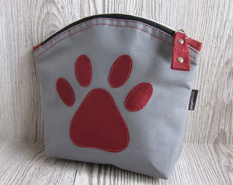 Large makeup bag, Cosmetic bag, Toiletry bag, Zip pouch, zipped pouch, Grey and Burgundy Paw, Cat Lover Gift, Dog Lover Gift,  Waterproof