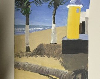 9x12 Palm Tree Beach