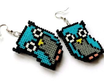 Owl Earrings / Animal Jewelry / Cute Pixel Geek Gift / Mini Perler Beads / Customizable Colors,