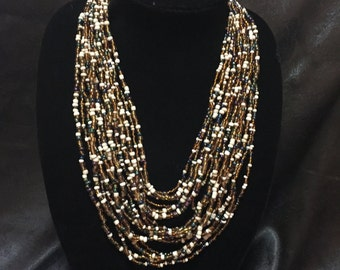 Multi Strand Glass Bead Bib Necklace