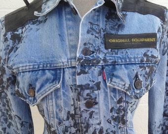 Punk Jean Jacket Bike Denim Jacket Punk Glam Studded Rock Rocker Metal Goth Emo Rock Wear Stage Wear Critical Mass Size Chest 38 inches