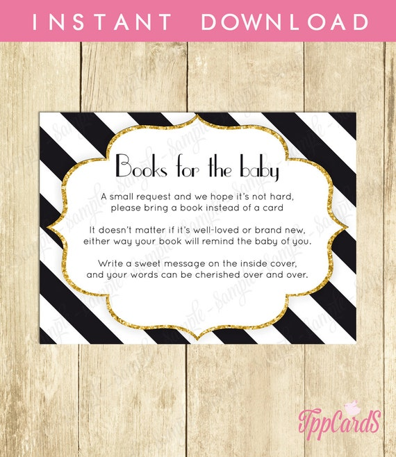 Black And White Baby Shower Printable Bring A Book Instead Of A Card