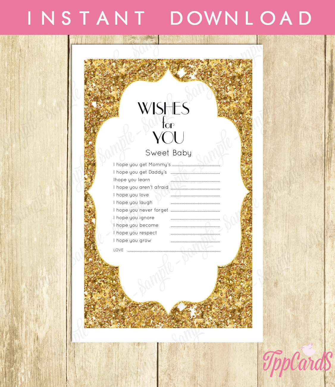 Instant Download Gold Glitter Baby Shower Games Glitter Wishes For
