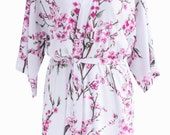 Bridesmaid robes bridal party cotton wedding robe dressing gown bride floral white pink blossom kimono