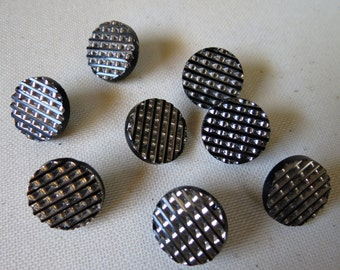 Vintage Set of 8 Grid Cut Top Glass Shank Buttons.