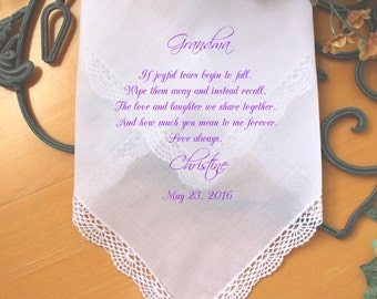 Grandmother Wedding Gift, Grandma of the Bride, custom PRINTED wedding handkerchief, If joyful tears begin , wedding favor, Custom. LS5FCAC