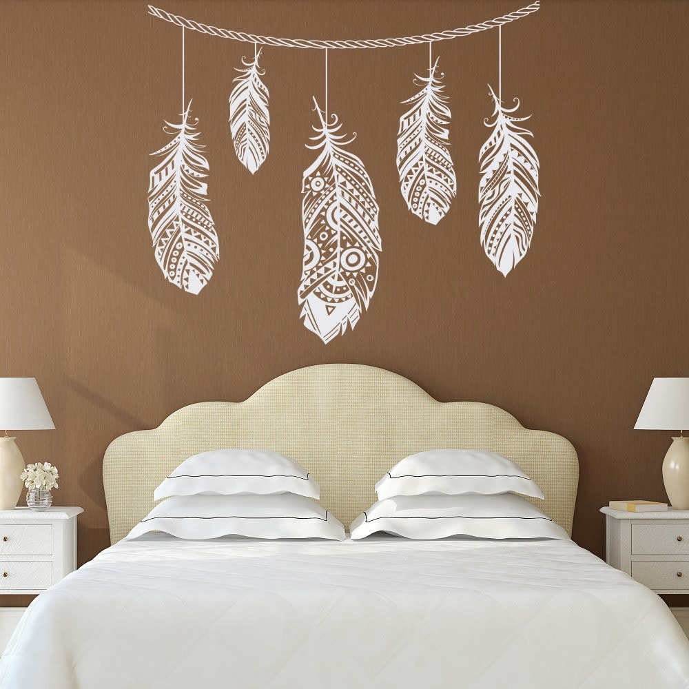 Feather Wall Decal Feather Decor Bohemian Bedroom Decor - Vinyl decals for walls etsy