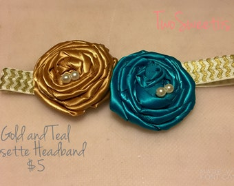 Teal and Gold Rosette Headband - Newborn/ Baby Girl