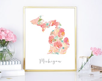 Michigan Watercolor Flower State - 8x10 print - 16x20 Print - DIY Print - Digital Download Print - Chic Wall Decor - Watercolor Floral State