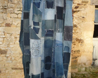 large patchwork recycled jeans