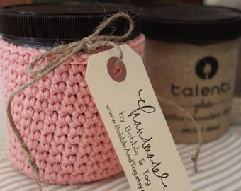 Gelato or Ice Cream Pint-Sized Holder made with Organic Turkish Cotton in Strawberry
