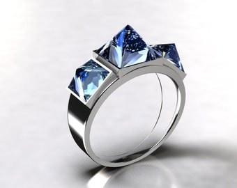 Ring 3 pyramids, Silver 925