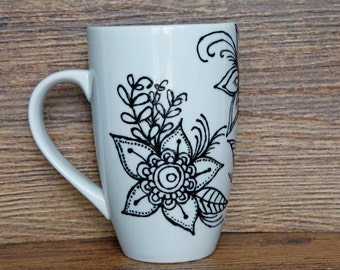 Beautiful hand painted ceramic mug with flowers | Coffee mug, tea cup, painted mug, Hand painted porcelain mug