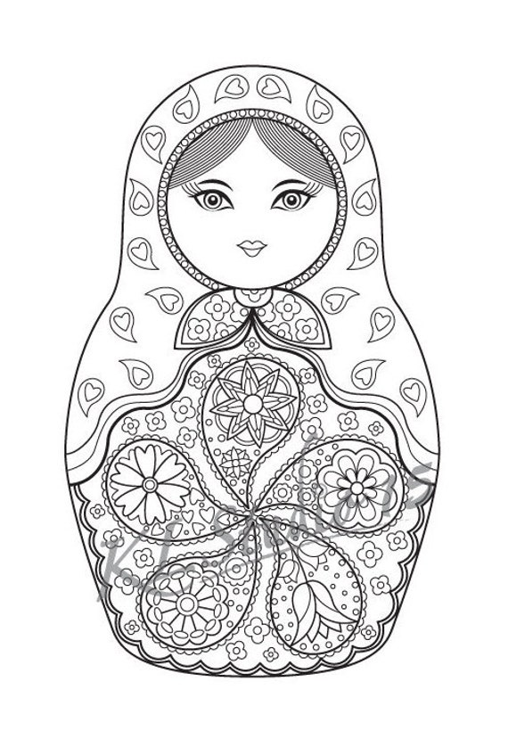 russian nesting dolls coloring page - matryoshka doll coloring page instant download relax