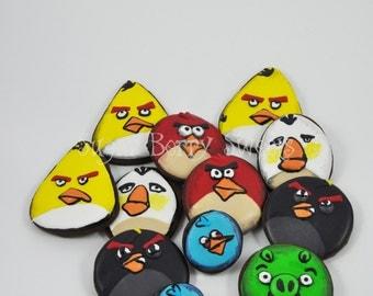 Angry Birds Cookies - 1 Dozen - chocolate sugar cookies - movie - video game - bomb - pig - bird island - The angry birds movie - cute