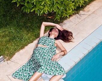 Midi skirt, tropical skirt, lounge skirt, pleated skirt, summer skirt, vintage skirt, knee length skirt, high waist skirt, palm, print, art