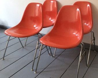 A Set of 4 Vintage/ Original Herman Miller for EAMES Fiberglass Chairs- Stacking