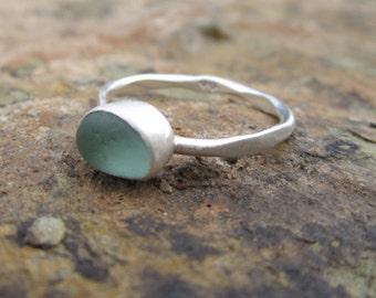 Classy, dainty, Cornish sea glass set into sterling silver