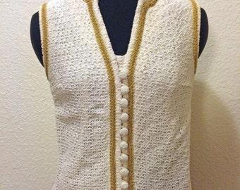 60s Cream Boho Vest with Gold Trim - Hippie Vest - Small