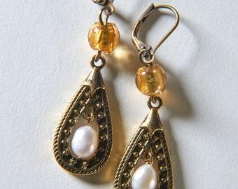 Brass Tear Drop and Freshwater Pearl Earrings