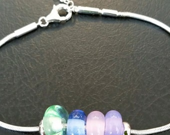 Colorful glass beads on pandora bracelet chain
