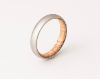 Titanium and White Oak // Mens Wood Rings //wood Wedding Band //Men's wedding Band