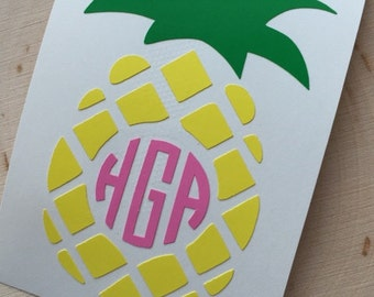 Monogram Pineapple Decal - Car Decal - Pineapple YETI Decal