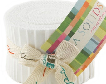 "Bella Solids - Jr Jelly Roll - Moda - (20) 2.5"" Strips - White # 98"