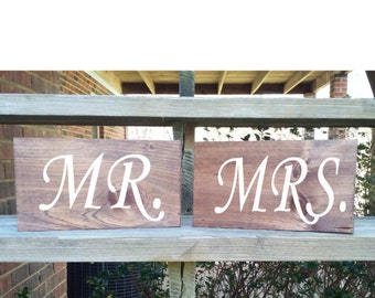 Head Table Mr. & Mrs.  wood signs, distressed rustic wood sign for wedding table