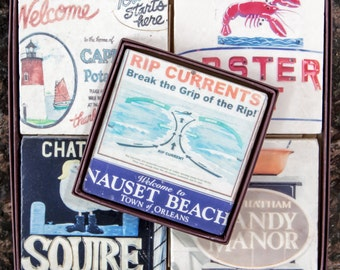Father's Day Gift // Cape Cod Decorative Tiles // Gift for Him // Cape Cod Gifts // Cape Cod Decor // Cape Cod Stone Coaster Nauset Beach