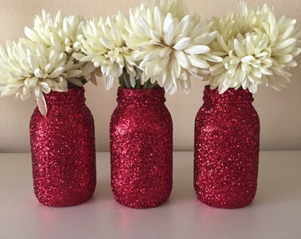 Set of 3 Red  glitter mason jars, Valentine's Day mason jars, glitter decor, wedding decor, wedding centerpieces, party table decor