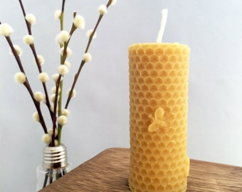 Handmade Pure Beeswax Cylinder Honeycomb Candle