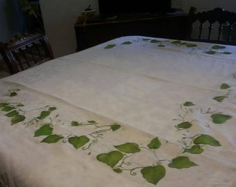 150 linen tablecloth lace-bordered