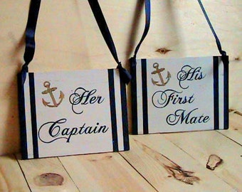 Nautical Wedding Signs, Her Captain & His First Mate, Navy Wedding Decor, Large Chair Signs, Anchor