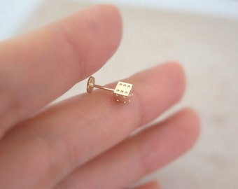 14K Solid Gold piercing/Dice labret piercing/Helix piercing/cartilage earring/Tragus piercing /Delicate ear piercing/Daith piercing/Conch