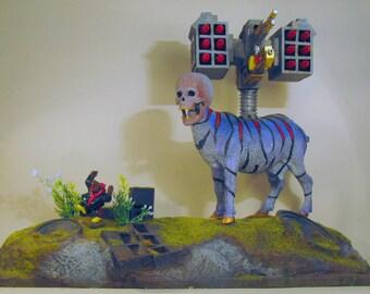 epic giant skull head war goat landscape with rat fam raver