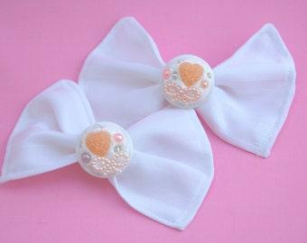 Lovely Ivory Wedding Decoden White Hair Bows