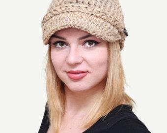 Newsboy cap, Newsboy hat, Crochet newsboy hat, Newsboy beanie, Brimmed hat, Womens newsboy hat, Women's newsboy beanie, Oatmeal color, nfh