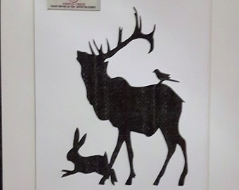 Stag Hare & Bird Harris Tweed Picture