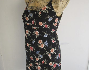 90s Grunge Black Floral Button Dress  size M