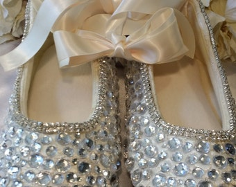 """Ivory White or Champagne Satin Ballet Flat Slippers Wedding Bridal """"CRYSTALIZED""""  Custom Color  Crystals Custom- Comfie! HUGE SALE Now!"""