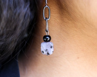 Purple Kiwi Stone with Black Agate and Matte Black Chain Earrings