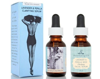 SALE! Lavender & Perilla Clarifying Organic Face Oil / Pinup Girl / Vegan Skin Care / Retro Vintage / Gifts for Her / Bridesmaid Gifts