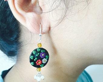 Polymer Clay Earrings | Black | Floral Earrings | floral art Earrings | round Earrings | Black Earrings | Flower Earrings | birthday gift