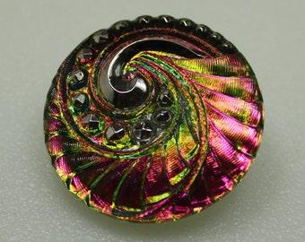 Czech Glass Button 27mm Vintage