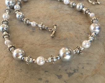 Statement Necklace, Gray and White Faux Pearl Necklace, Jewelry
