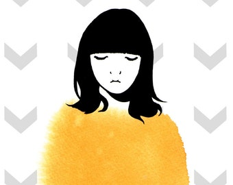 Giclee art print 5 1/2 x 8 1/2'' - girl with mustard sweater (watercolor + gouache + digital)