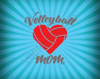 Volleyball Mom Cutting Template SVG EPS Silhouette DIY Commercial Vector Instant Download
